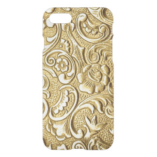 Chic Faux Gold Antique Baroque Floral Pattern iPhone 7 Case