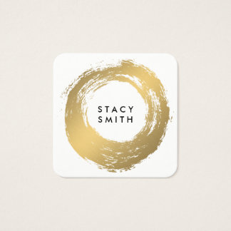 Chic Faux Gold Brushed Square Business Card