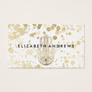 Chic faux gold confetti hamsa hand of Fatima Business Card