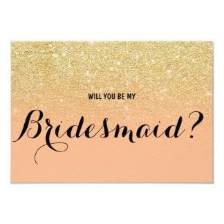 Chic faux gold coral Will you be my Bridesmaid Card