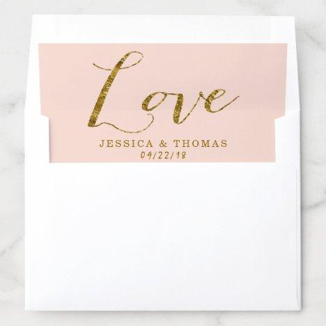Chic Faux Gold Foil & Blush Pink Wedding Love Envelope Liner