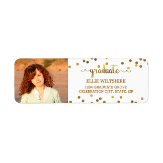 Chic Faux Gold Foil Confetti Graduation Photo Label