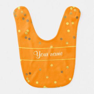 Chic Faux Gold Foil Confetti Orange Bib