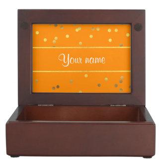Chic Faux Gold Foil Confetti Orange Keepsake Box
