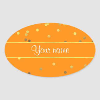 Chic Faux Gold Foil Confetti Orange Oval Sticker