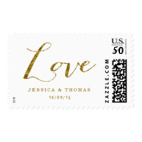Chic Faux Gold Foil Custom Wedding Love Postage