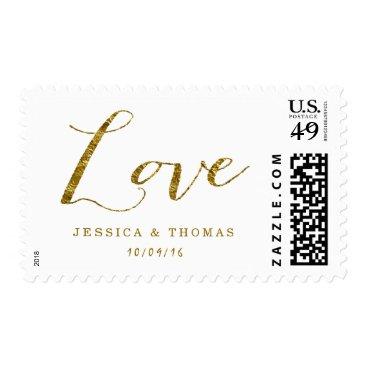 Invitation_Republic Chic Faux Gold Foil Custom Wedding Love Postage