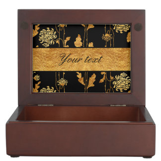 Chic Faux Gold Foil Flowers on Black Memory Box
