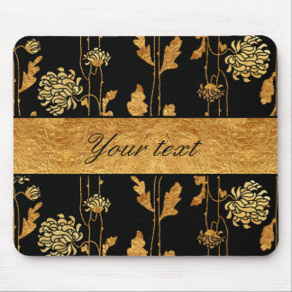 Chic Faux Gold Foil Flowers on Black Mouse Pad