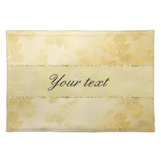 Chic Faux Gold Foil Leaves and Glitter Placemat