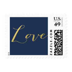 CHIC FAUX GOLD FOIL LOVE NAVY BLUE POSTAGE at Zazzle