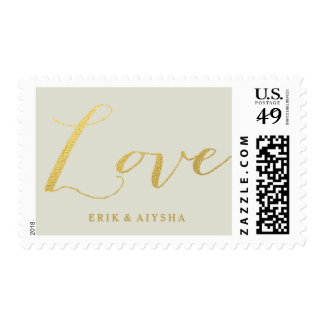 CHIC FAUX GOLD FOIL LOVE POSTAGE