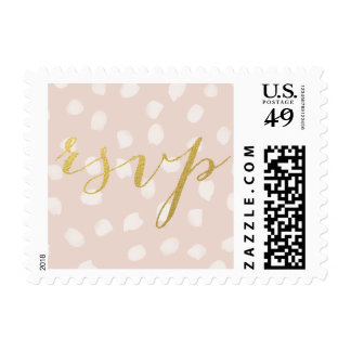 CHIC FAUX GOLD FOIL PINK RSVP POSTAGE
