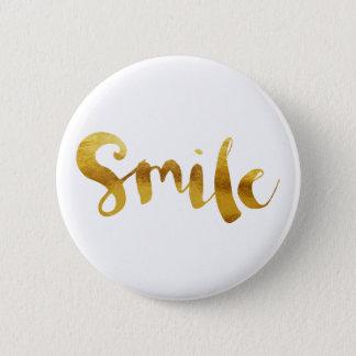 Chic Faux Gold Foil Smile Pinback Button