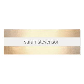 Chic Faux Gold Foil Striped Modern Mini Business Card