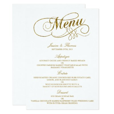 Wedding Menu Template Personalize  ZazzleCom