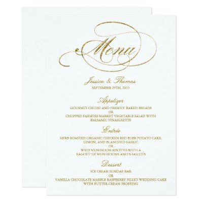 Simple wedding menu elegant wedding menu card zazzle stopboris