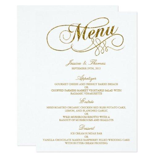 Wedding Menu Template: Chic Faux Gold Foil Wedding Menu Template Card