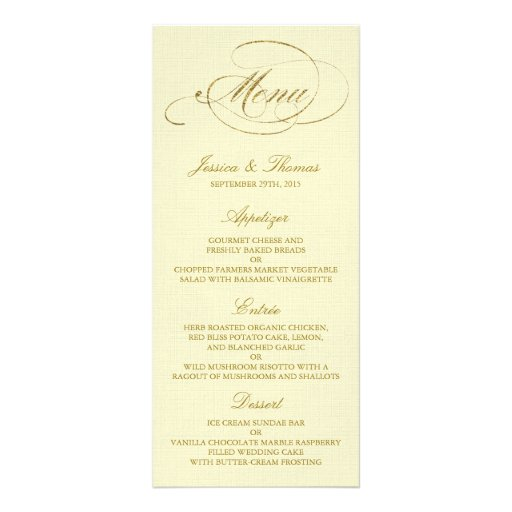 chic faux gold foil wedding menu template ivory zazzle