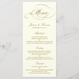 Chic Faux Gold Foil Wedding Menu Template - Ivory