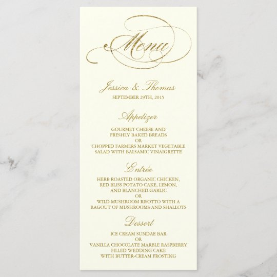 chic faux gold foil wedding menu template ivory zazzle com