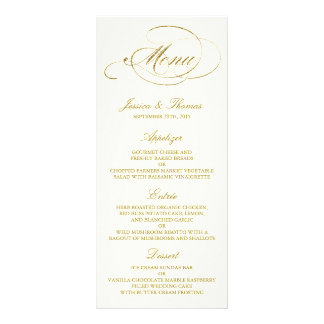 Chic Faux Gold Foil Wedding Menu Template - Ivory