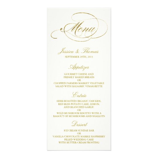 Chic Faux Gold Foil Wedding Menu Template  Ivory  ZazzleCom