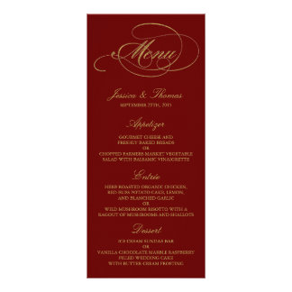 Chic Faux Gold Foil Wedding Menu Template - Red