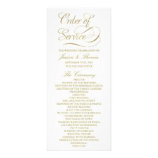 Chic Faux Gold Foil Wedding Program Template