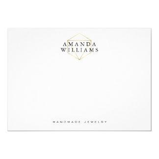 Chic Faux Gold Gemstone Jewelry Designer Notecard 5x7 Paper Invitation Card