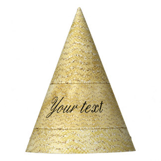 Chic Faux Gold Glitter Chevrons Party Hat