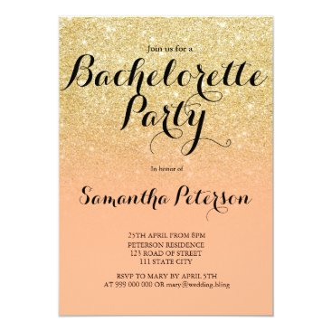 girly_trend Chic faux gold glitter coral bachelorette party card