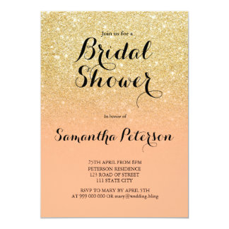 Chic faux gold glitter coral bridal shower card