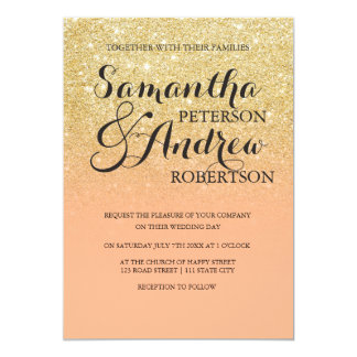 Elegant Chic Faux Gold Glitter Coral Color Block Wedding Card