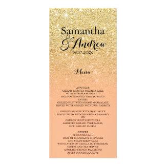 Chic faux gold glitter coral wedding menu