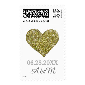 chic faux gold glitter heart of love wedding postage