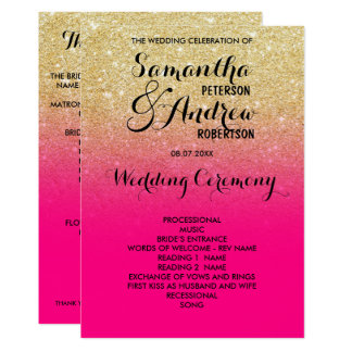 Chic faux gold glitter hot pink wedding program