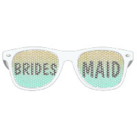 Chic faux gold glitter mint green Bridesmaid Retro Sunglasses