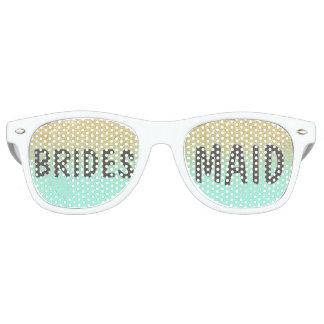 Chic faux gold glitter mint green Bridesmaid Retro Sunglasses