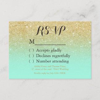 Chic faux gold glitter mint green RSVP wedding
