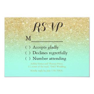 Chic faux gold glitter mint green RSVP wedding Card