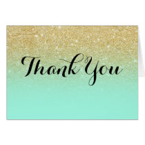 Chic faux gold glitter mint green thank you