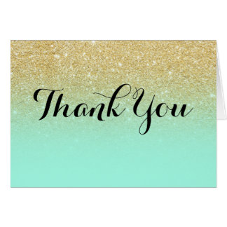 Chic faux gold glitter mint green thank you card