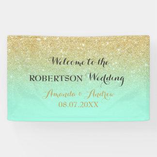 Chic faux gold glitter mint green wedding banner