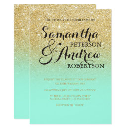 ... Chic Faux Gold Glitter Mint Green Wedding Card
