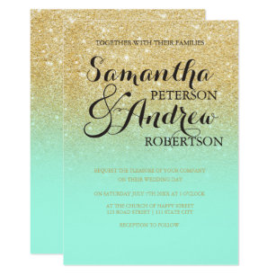 Chic Faux Gold Glitter Mint Green Wedding Invitation