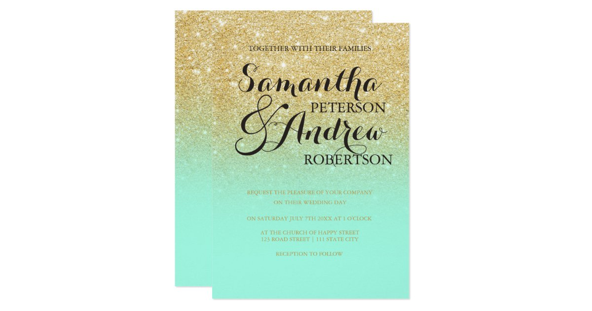 Mint Green And Gold Wedding Invitations: Chic Faux Gold Glitter Mint Green Wedding Invitation