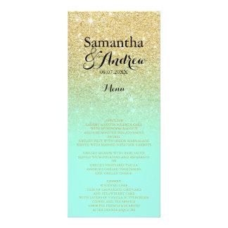 Chic faux gold glitter mint green wedding menu
