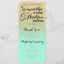 Chic faux gold glitter mint green Wedding Program