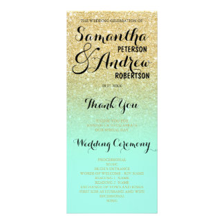 Chic faux gold glitter mint green Wedding Program